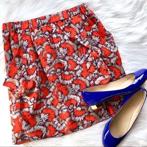 MADEWELL   Eliot Red Silk Fan Print Pocket Skirt